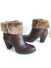 Ugg Australia Brown Leather Shearling Lined High Heels Size EU38.5, UK5.5