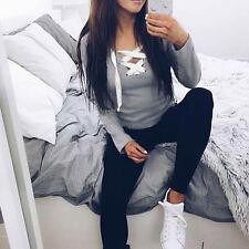 Women Fashion V-Neck Long Sleeve Bandage Shirt Blouse Casual Cotton T-shirt Tops