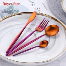 16PCS Stainless Steel Cutlery Set Spoon Fork Flatware Portugal Tableware Orange