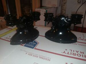 Set of Two Black Amethyst LE Smith Double Candle Holders Vintage Mid-Century