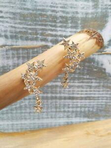Anthropologie Gold Crystal-Embellished Stars Drop Earrings