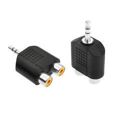 P46 3,5mm Audio Cinch Verteiler Y Adapter Cinch Buchse Kupplung auf 2RCA Stecker