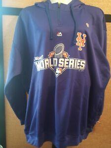 New York Mets World Series 2015 Majestic Mens Sweatshirt Blue Mesh Hooded 4 XL