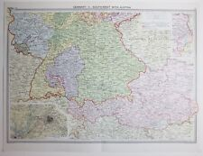 1920 LARGE MAP GERMANY SOUTH WEST WITH AUSTRIA MUNICH ENVIRONS OF BERLIN