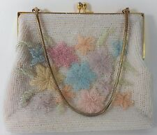 WALBORG Vintage Purse Hand Bag White Flowers Pearls Beads Pink Blue Green Gold