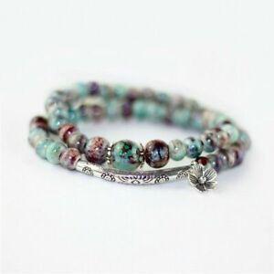 Tibetan Silver Curved Floral Fish & Lotus Flower Wrap Bracelet Jasper Beads