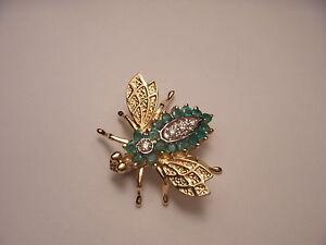 Gorgeous 14K Yellow Gold Emerald Diamond Fly Bug Brooch Pin