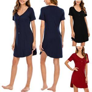Women Nightdress Short Sleeve Modal Nightwear Homewear Pajamas Sleeping Dress