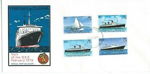 Tristan Da Cunha Visit of Q.E.2 1979 Set + Mini Sheet on 2 First Day Covers