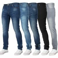 Mens Skinny Stretch Jeans Slim Fit Flex Denim Trousers Pants King Sizes by Kruze