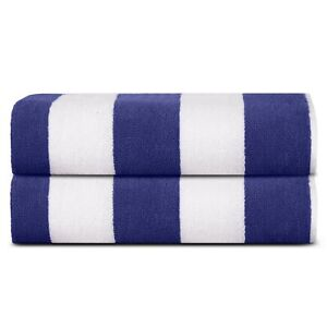 Premium Luxury Cotton Beach Pool Bath Towels 2 Pack Set, Blue