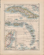 1914 MAP ~ CUBA ~ GREATER ANTILLES LEEWARD WINDWARD BRITISH HONDURAS