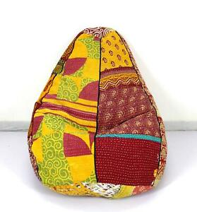 Vintage Kantha Quilt Cotton Bohemian Decorative Bean Bag Sacco Chair Ottoman