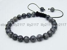 Men's Shambhala bracelet all 8mm Black Gray Labradorite stone beads