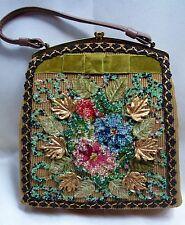 VINTAGE 1950's Handbag  CARON OF HOUSTON Hand Crafted Needlepoint Beads Brass