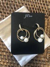 NWT JCREW Pearl Drop Hoop Earrings Gold Plated
