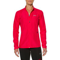 ASICS Woven Womens Red Water Resistant Windproof Running Sports Zip Jacket Top