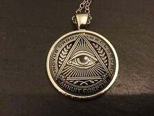 Novus Ordo Seclorum MASONIC Illuminati METAL & Glass PENDANT NECKLACE Mason