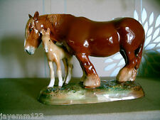 ROYAL DOULTON HORSE CHESTNUT SHIRE MARE & FOAL HN 2522 LARGE W M CHANCE PERFECT