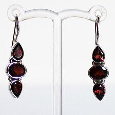 925 Sterling Silver Semi-Precious Natural Stone Red Garnet Drop Earrings