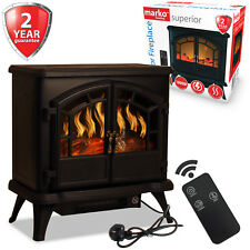 Electric Fireplace 1800W Double Door Fan Heater Flame Effect Wood Burner Stove