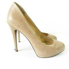 Jessica Simpson Natalli Nude Leather Platform Pumps Heels Women's Sz 8.5M