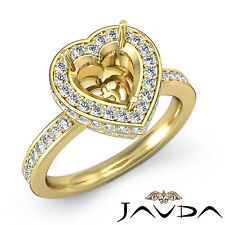 Diamond Engagement Ring 0.89Ct 14k Yellow Gold Heart Shape Semi Mount VS1-VS2