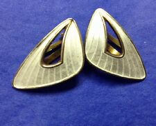 Pair Sterling Guilloche Enamel White Modernist Clip Earrings / Ivarv Holt Holth