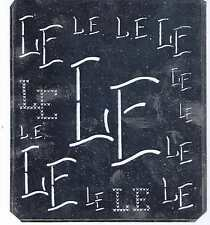 Große Monogramm Schablone LE  Jugendstil   Weißblech 15,5 x 18 cm Weissstickerei