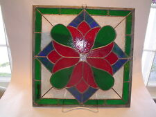 """New Price! Art Glass, 14"""" square Stained Glass by Caryn Samuell - Red tulips"""