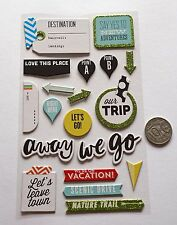 NO 596 SCRAPBOOKING - 15 PLUS CHIPBOARD TRAVEL THEMED STICKERS