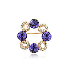 18K ROSE GOLD PLATED AND GENUINE CZ AND AUSTRIAN CRYSTAL PURPLE WREATH BROOCH