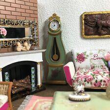 Dollhouse miniature Swedish Mora longcase working clock - 1:12 scale - Green