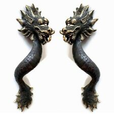 "2 Dragon door pull 30cm aged 100% brass old style house handle 12"" long heavy B"