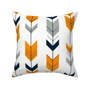 Modern Chevron Arrow Orange Throw Pillow Cover w Optional Insert by Roostery