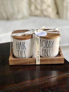 New Rae Dunn 2021 Hair Ties & Bobby pins Ceramic Cellar Set 🌸💗🌺