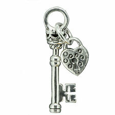 6.7g 925 Solid Sterling Silver Key to My Heart Pendant Love Pendant(S)