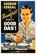 """Breakfast Starts a Good Day!"" 1940s Vintage Style WWII Poster - 16x24"