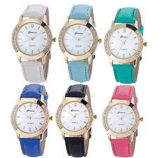 2017 Fashion Gevena Watch Women Crystal Leather Band Analog Quartz Wristwatch