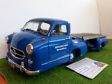 MERCEDES BENZ RENN TRANSPORTER 1954 bleu 1/18 CMC camion miniature de collection