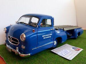 MERCEDES BENZ RENN TRANSPORTER 1954 bleu 1/18 CMC camion miniature de collection