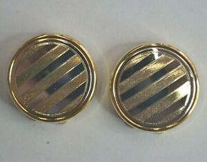 VINTAGE 18K(750) TWO-TONE ITALIAN BUTTON COVERS FOR TUX SHIRT BY STELLA