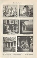Lithografie 1906: Indische Kunst I/II. Stupa Tempel Felsenhalle-Tempel Skulptur