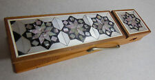 Vintage WOODEN Paper Clip MOTHER OF PEARL Abalone Egypt Card PHOTO HOLDER