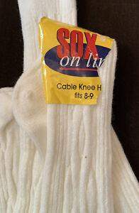 Vtg Acrylic Socks CABLE Knee-hi Soft & SEXY! Sz 8-9 Small Nwt!