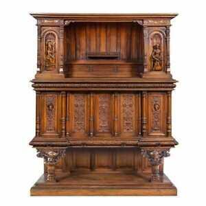 Antique Cabinet, French, Monumental, Renaissance Revival Carved Walnut, Gorgeous