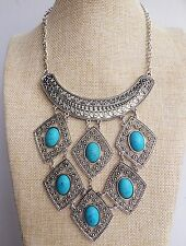 Silver Turquoise Diamond Shape Indian Vintage Style Bohemian Lagenlook Necklace