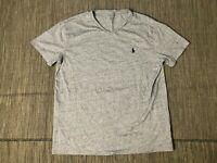Polo Ralph Lauren Mens Large V Neck Tee T Shirt Short Sleeve Gray (Blue Pony)