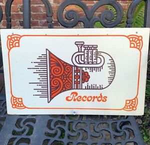 Vintage RECORDS Sign Groovy FRENCH HORN Wall Art Music NOLA Orange 1970s Art