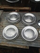 Vintage Set of 4 Baby Moon dog dish  Chrome Hub Cap Rat Rod Man Garage Wall art
